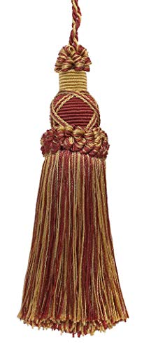Decorative 14cm Key Tassel, Burgundy Red, Gold Imperial II Collection Style# KTIC Color: BURGUNDY GOLD - 1253