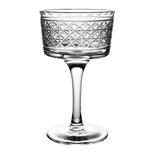 Verres à vin Faits À La Main en Verre À Cocktail Taillé Large en Verre À Cocktail 2 (Color : Clear, Size : 7.8 * 6.8 * 12.5cm)
