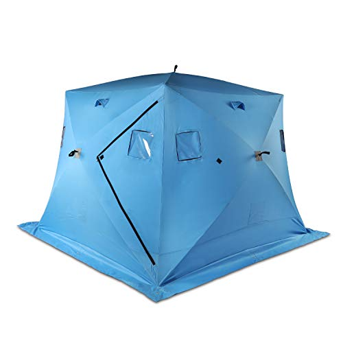 Vikiullf Ice Shelter Tent - 2 Person Waterproof Pop up Ice Fishing Tent Portable Ice House with Detachable Ventilated Windows & Ground Nail, Orange