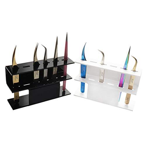 ZHDXW 6 Trous Pince à épiler Support Support Pince à épiler Support de Stockage Acrylique présentoir greffe Cils Affichage étagère Maquillage Outil Organisateur,Noir