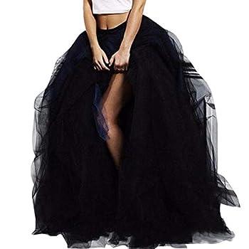 Wedding Planning Women s Long Tulle Split Side Evening Party Skirts Large Black