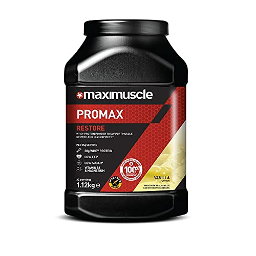 Maximuscle Promax Restore Whey Concentrate Protein Powder for Muscle Growth and Development, Vanilla, 1.12 kg - 32 Servings