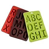 3 Pezzi Stampi per Cioccolato in Silicone a Forma di Alfabeto Alfabeti Cubetti di Ghiaccio Stampi Alfabeto Stampi per Dolci Fatto a Mano per Biscotti Caramelle Cioccolato Verde Marrone Rosso