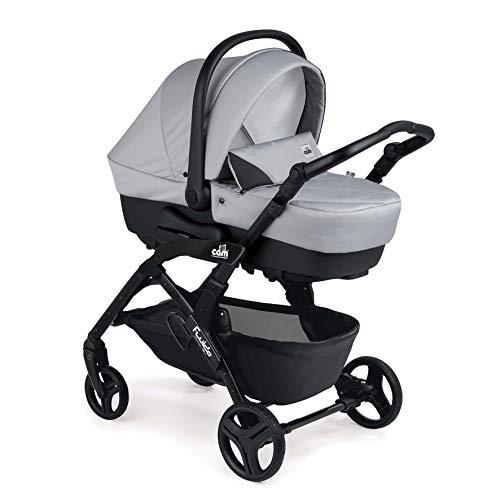 CAM 3 in 1 Kombi-Kinderwagen FLUIDO EASY   Design & Qualität - Made in Italy   inkl. Babyschale, Babywanne, Sportwagen, Körbchen und Tasche   hochwertige Materialien (grau)