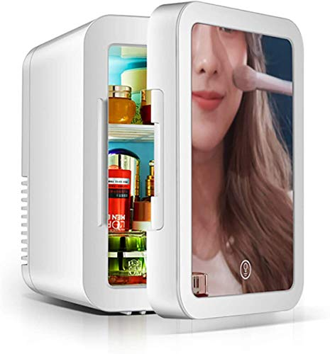 RENXR 5 Litre Mini Fridge In White For Office & Bedroom Portable Compact Cooler & Warmer AC+DC Power Drinks Fridge & Makeup Fridge