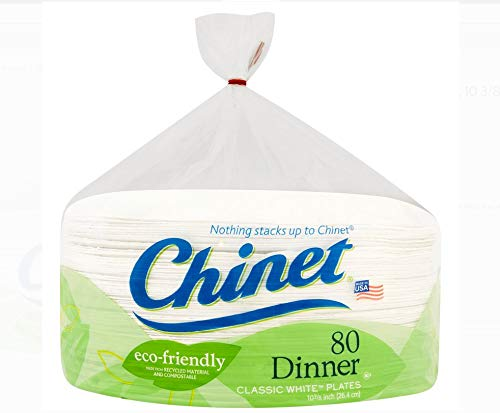 Chinet Dinner Classic White Plates, 10 3/8', 80 Count - 1 Pack