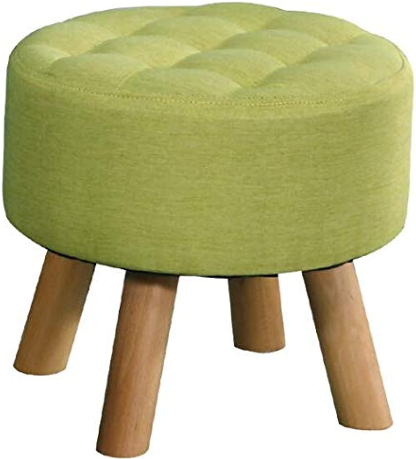 Round Wooden Bench with Cushioned, 4 Foot Support-Green