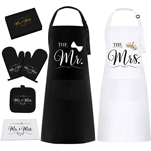 Mr & Mrs Aprons Gift Set for Couple - Funny Housewarming Wedding Gifts...