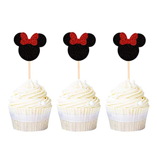 Ercadio Minnie Mouse Inspired Cupcake Toppers with Red Bow Black Glitter Mini Cupcake Picks Decorations for Baby Shower Kids Girls Birthday Party Supplies 24 PCS