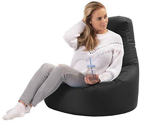 sunnypillow Gaming Sitzsack XXL mit Styropor Füllung Outdoor & Indoor für Kinder & Erwachsene Sitzsäcke Sitzkissen Bodenkissen viele Farben zur Auswahl Schwarz