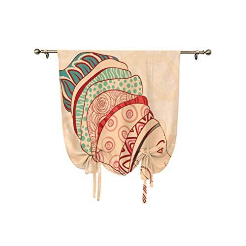 Cortina de ventana pequeña para mujer africana, retrato femenino local con collar, pendientes y adornos étnicos turbantes, cortina opaca con aislamiento térmico, 81 x 137 cm, para dormitorio de niños