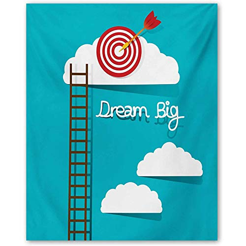 Inspirational Bedroom Poster Dream Big Phrase with Dart Board Fluffy Clouds Staircase Optimistic Attitude Couples Gifts for Christmas Multicolor L36 x H24 Inch