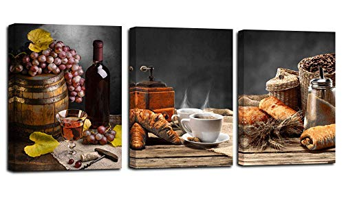 Acocifi Red Wine Canvas Wall Art Vintage Bread Coffee Bean Pictures Still Life Painting Fruit Grape Grey Artwork Framed for Kitchen Dinning Room Bar Home Wall Decor, 12'x16'x3 Panels, Ready to Hang