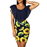 HHmei Sexy Sleeveless Sunflower Dresses for Women, Color Contrast Holiday Party Short Mini Bodycon Dress Button Down White Summer Navy Blue Shirts Mermaid Sandals Plus Size Yoga Maxi (Navy S)