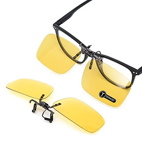 TERAISE Occhiali da sole con montatura polarizzata su occhiali da vista anti-riflesso UV400 per uomo donna che viaggiano in viaggio Sport esterno (Yellow-upgrade Flip)