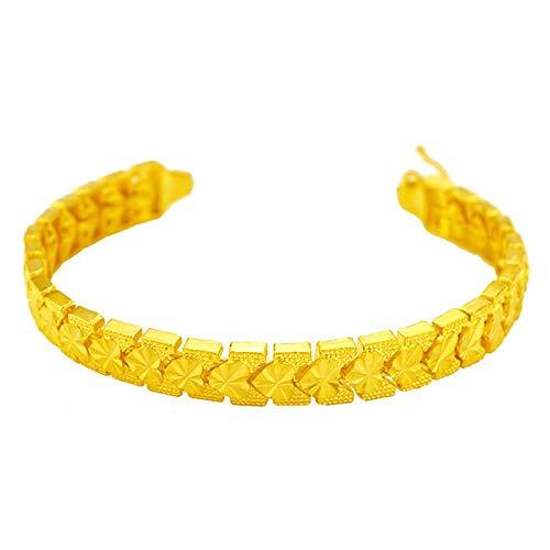 QSO Imitación oro joyas latón chapado en oro con forma de corazón auto flor pulsera mujer