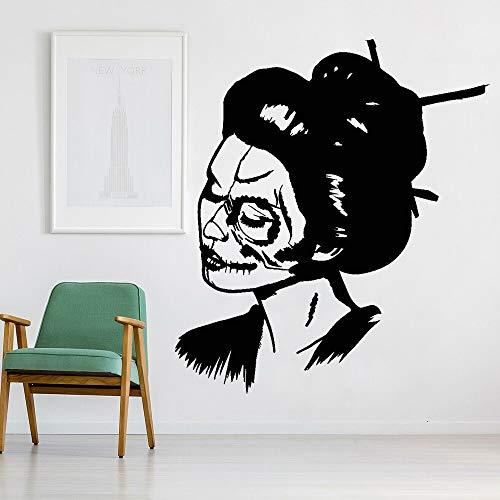 Calcomanía de vinilo para pared, calavera, cara de niña, mujer, día de la muerte, pegatina, estilo artístico, decoración del hogar, Mural artístico A5 42x37cm