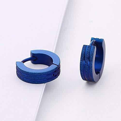 Pendientes Mujer Moda Scrub Circle Stud Pendientes Hombres Pendientes De Gota Esmerilados Acero Inoxidable Negro Azul Oro Plata Color Joyería-Azul