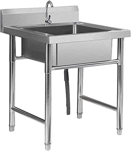 XHNXHN Fregadero de cocina comercial de acero inoxidable con alta salpicadura de lavabo independiente 1 compartimiento Underbar fregadero granja cafetería tienda hospital