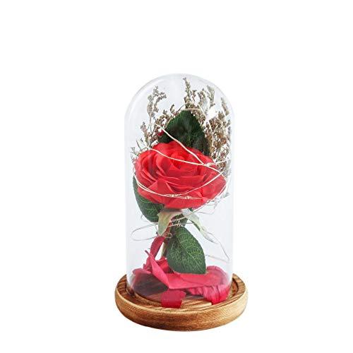 Yaonow Enchanted Forever - Flor de cristal LED, luz de boda, decoración de San Valentín, festival