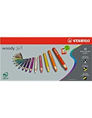 Multi-talented Pencil STABILO woody 3-in-1 Wallet of 18 Assorted Colours + Sharpener
