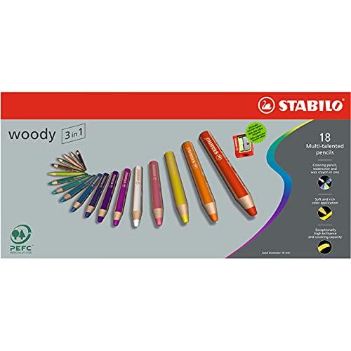 Buntstift, Wasserfarbe & Wachsmalkreide - STABILO woody 3 in 1 - 18er Pack mit Spitzer - mit 18 verschiedenen Farben