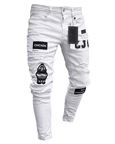 Pantalones Vaqueros Hombres Rotos Pitillo Slim Fit Skinny Pantalone Casuales Elasticos Agujero Pantalón Personalidad Jeans de Insignia Blanco S