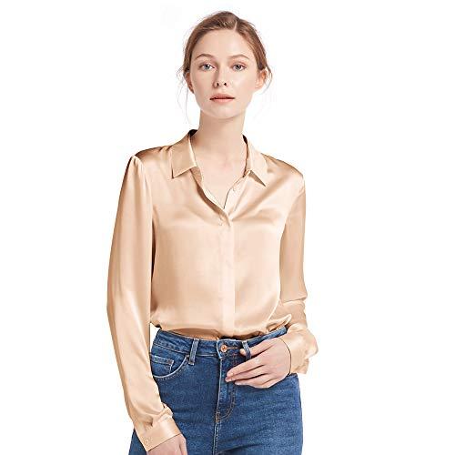 LilySilk - Momme 22, camicia da donna in seta a maniche lunghe, per tutte le stagioni, scollo a V, stile casual beige M