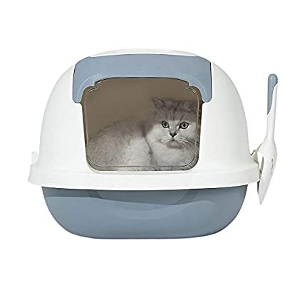 AllPetSolutions Grey Cat Plastic Litter Box Tray Toilet, Hooded with Door Flap and handle. - Size 521x427x414mm