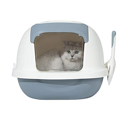 AllPetSolutions Grey Cat Plastic Litter Box Tray Toilet, Hooded with Door...