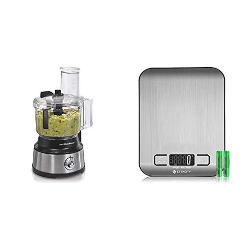 Hamilton Beach 10-Cup Food Processor & Vegetable Chopper with Bowl Scraper, Stainless Steel & Etekcity Food Scale, Digital Kitchen Weight Grams and Ounces for Baking and Cooking, Small