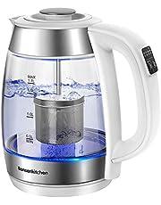 Bonsenkitchen 1.7L 2200W glazen waterkoker/theepot - digitale temperatuurregeling glazen theemaker voor thee of koffie (50,70,80,90, 100 °C), glazen kan met roestvrij stalen filter en warmhoudfunctie (EK8003)