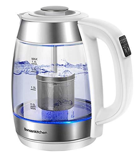 Bonsenkitchen 1.7L 2200W Glas Wasserkocher/Teekanne - Digital Temperaturregelung Glas Teebereiter für Tee oder Kaffee (50,70,80,90, 100℃), Glaskanne mit Edelstahl Filter und Warmhaltefunktion (EK8003)