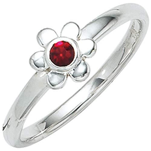JOBO Kinder-Ring aus 925 Silber mit rotem Glasstein und Blumen-Motiv Größe 48