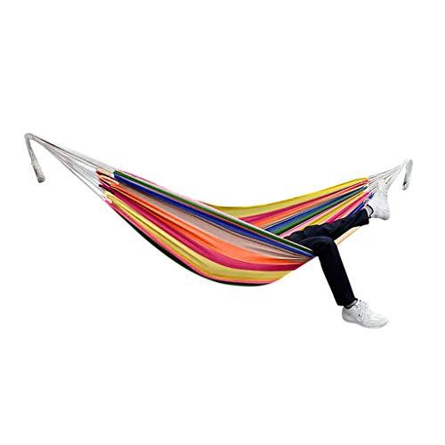 Hanging Hammock,Hammock Chairs Set,Indoor Outdoor Camping Hammock,Double Canvas Hammock Hanging Swing Bed,Yard Striped Hanging Chair Large Chair Hammocks (A)