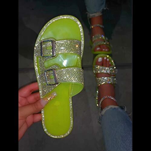 XLBHSH Sandalias Mujer Verano Bohemia Zapatos De Planos Sandalias De Punta Abierta,01,42