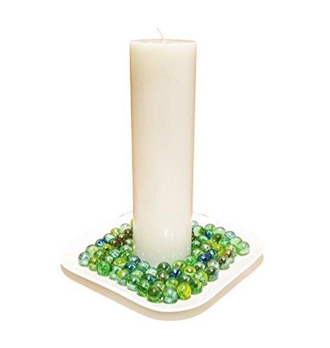 Collumino - Vela de pilar (tamaño grande, 25 x 7 cm, 1 unidad), color blanco
