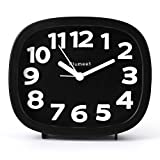 Plumeet Analog Alarm Clock with 3D Numeric, Silent Non Ticking, Backlight and Snooze Function, Easy to Set,...