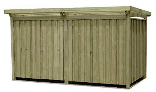 Gartenpirat Gerätehaus Holz mit Flachdach Typ-4 387 x 224 cm mit Zwei Räumen