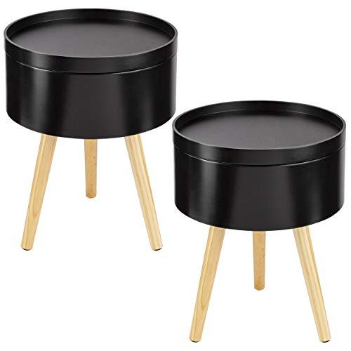 ONVAYA Beistelltisch Sofia aus Holz | 2er-Set | Ø 35 cm | Couchtisch rund | Nachttisch Kiefer | Stauraum & Abnehmbarer Deckel | Modernes skandinavisches Design | Schwarz Holz