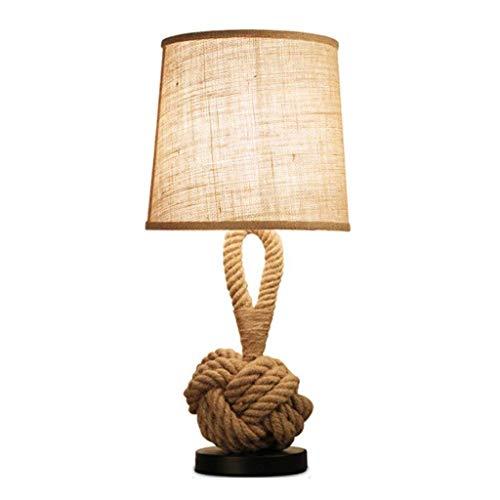 WENMENG2021 Lámpara de escritorio creativa de moda industrial, cuerda de cáñamo, lámpara de mesa, lámpara de noche, dormitorio, hotel, salón, lámpara de mesa, color marrón