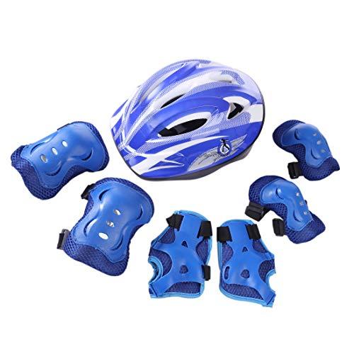 Rolanli Protektorenset Kinder, 7-Teiliges Rollschuhlaufen Schutzausrüstung Sport Schutzausrüstung Schutz für Kinder 5-11 Jährige