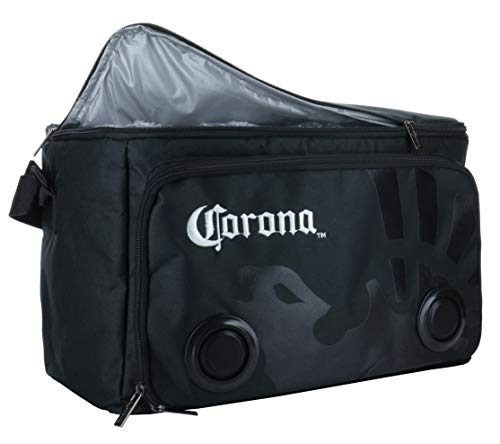 Corona Beach Cooler Bag with Built in Speakers, 24 Cans Insulated Tote Cooler, Long Lasting Rechargeable Battery (CJHP006) Black