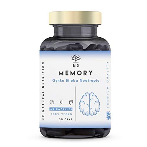 Nootropico, Cafeina, Bacopa, Ginko Biloba, Vitamina B6, B12. Mejora Memoria, Concentración. Reduce Estrés, Cansancio Mental, Fatiga. Adaptógeno, Antioxidante. Vegano, 60 cápsulas. N2 Natural Nutrition