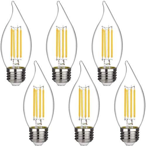 Bombillas LED Emitting de 4,5 W regulables de 50 W, 2700 K, luz blanca cálida, 450 lúmenes, casquillo E26, C35 con forma de llama, punta doblada de vidrio transparente (6 unidades)