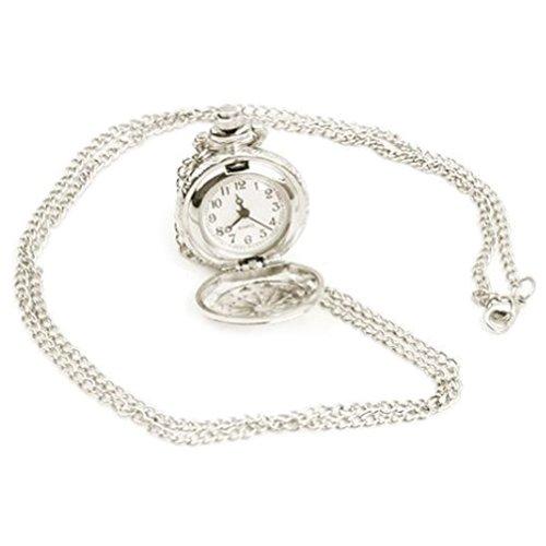 Gesh Reloj de pulsera chapado en plata con colgante y cadena de cuarzo como reloj de bolsillo