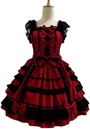 Smiling Angel Girls Sweet Lolita Dress Princess Lace Court Skirts Cosplay Costumes Red Small product image