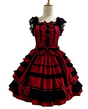 Smiling Angel Girls Sweet Lolita Dress Princess Lace Court Skirts Cosplay Costumes Red Small