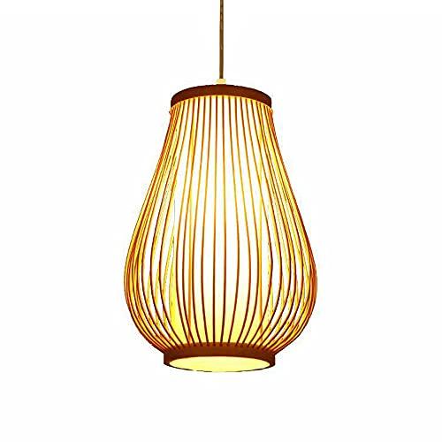 KAIKEA Lámpara de araña de bambú clásica tradicional de estilo japonés Lámpara colgante de bambú tejida a mano creativa Lámpara de decoración de comedor y dormitorio E27 Portalámparas Lámpara de bambú