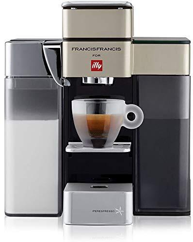 Illy Y5 Milk 60138 Bluetooth Kapselmaschine Iperespresso - Kaffeemaschine mit Milchaufschäumer - Espresso & Kaffee - 0,9 L - 1250 W - Satin - Dash Replenishment Service (DRS)